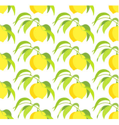 seamless pattern with lemon branches vector image