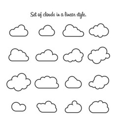 set clouds in a linear style cloud in line or vector image
