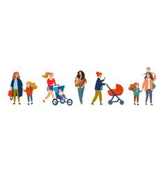 set happy mothers with children cute cartoon vector image