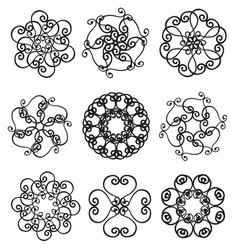 Set of circle ornates snowflakes vector