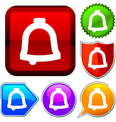 Set shiny icon series on buttons bell vector