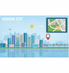 Smart city navigation tablet with city location vector