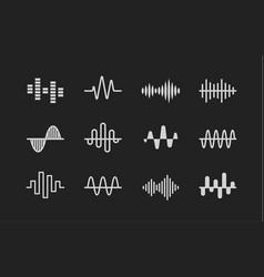 Sound logos set music radio cardio wave vector