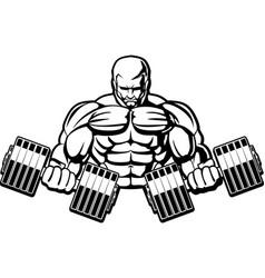 Sports emblem bodybuilder with dumbbells logo vector