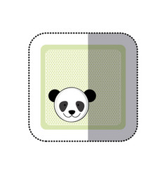 sticker colorful greeting card with picture panda vector image