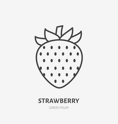 Strawberry flat line icon sweet berry sign vector