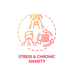Stress and chronic anxiety red gradient concept vector