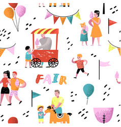 Summer fun fair seamless pattern amusement park vector