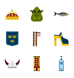 swedish attractions icons set flat style vector image