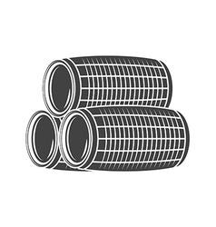 Three wine beer barrels Black icon logo element vector