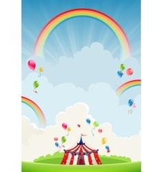 Travelling circus and rainbow vector