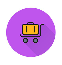 trolley luggage icon on round background vector image