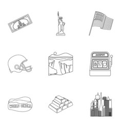 usa country set icons in outline style big vector image