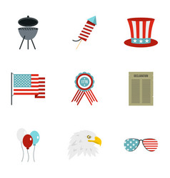 Usa patriotic holiday icon set flat style vector
