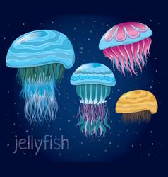 various fantastic jellyfish vector image