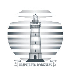 vintage hand drawn lighthouse emblem vector image