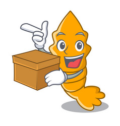 With box fresh raw shrimps on character cartoon vector