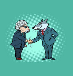 Wolf and sheep business negotiations friendship vector