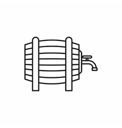 Wooden barrel with tap icon outline style vector