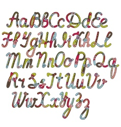 Written alphabet in christmas colors vector
