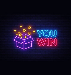 you win neon sign you win design template vector image