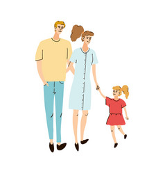 young family mom dad and daughter together vector image