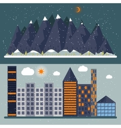 a flat design with city vector image vector image