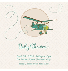 Baby Shower or Arrival Card with Plane vector image