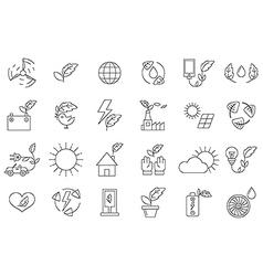 black eco icons set vector image vector image