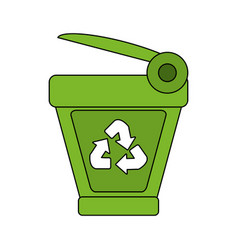 color image cartoon trash can with recycling vector image vector image