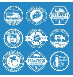Milk Monochrome Emblems Set vector image vector image