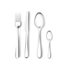 realistic fork and knife spoons mockup vector image
