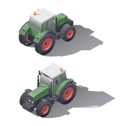 agricultural tractors isometric icon set vector image