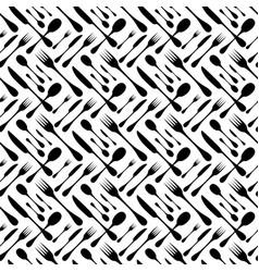 cutlery seamless pattern silverware hand vector image