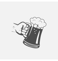 label the hand with a mug of beer vector image