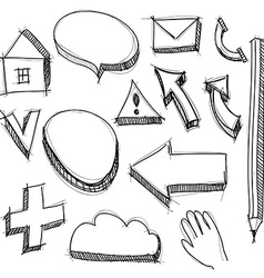 set hand drawn icons black lines on white vector image