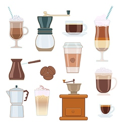Set of Coffee Types and Coffee Accessories vector image vector image
