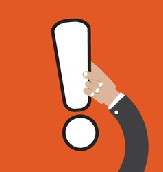 Exclamation Mark In Hand vector image