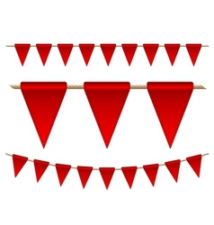Festive red flags on white background vector image vector image