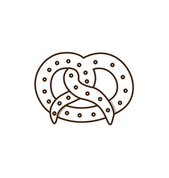 Silhouette pretzel baked product food icon vector