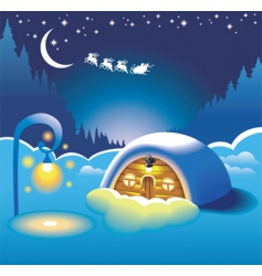 snow-covered hut vector image