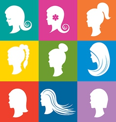 Women heads with beautiful hair vector image vector image