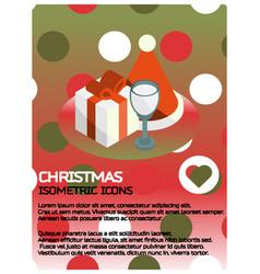 christmas isometric poster vector image