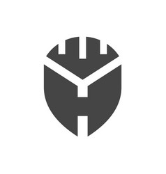 shield letter h logo vector image