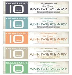 10 years anniversary retro banner set vector