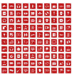 100 headphones icons set grunge red vector