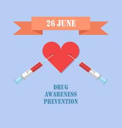 26 june drug awareness prevention colorful card vector image