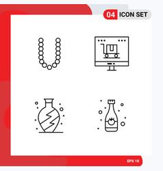 4 universal line signs symbols accesoris home vector