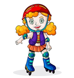 A Caucasian girl skating vector image