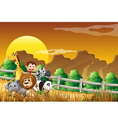 A group of animals at the woods vector image